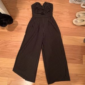 Pinstriped strapless jumpsuit